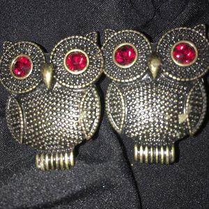 Jewelry - 7/8 owl plugs with ruby eyes